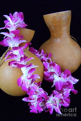 Ipu And Orchid Lei Art Print by Mary Deal