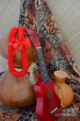 Ipu Heke And Red Ukulele And Red Satin Lei Art Print by Mary Deal