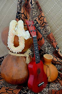 Ipu Heke And Red Ukulele With White Satin Lei Art Print by Mary Deal
