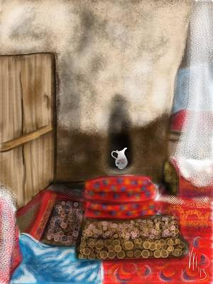 Persian Carpet Digital Art - Iran Kandovan Stone Home Interior by Lois Ivancin Tavaf