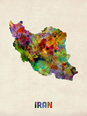 Iran Digital Art - Iran Watercolor Map by Michael Tompsett