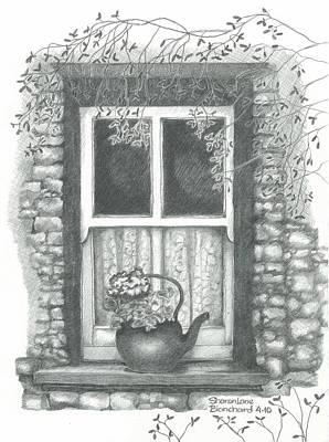 Ireland Cottage Window Original by Sharon Blanchard