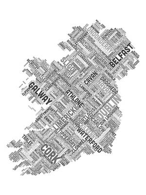 Ireland Digital Art - Ireland Eire City Text Map by Michael Tompsett