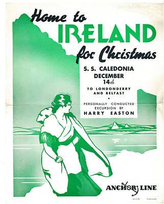 Flower Painting - Ireland For Christmas Vintage Poster by Celestial Images