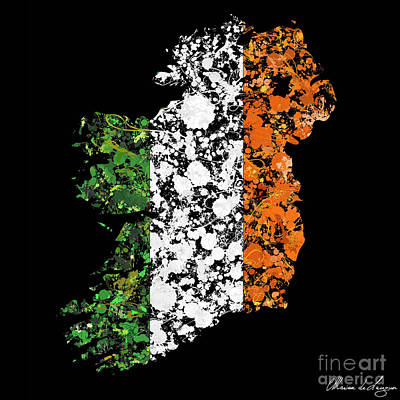 Ireland Map Flag Art Print by Marion De Lauzun