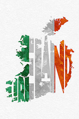 Abstract Map Mixed Media - Ireland Typographic Map Flag by Ayse Deniz