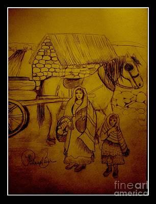 Horse And Buggy Mixed Media - Irelands Farmland  by Patricia Bunk