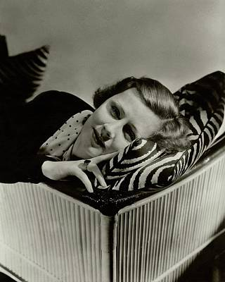 Photograph - Irene Dunne Lying Down On A Zebra Print Pillow by Lusha Nelson