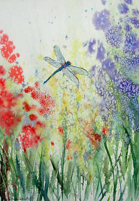 Iridescent Dragonfly Dances Among The Blooms Art Print by Susan Duda