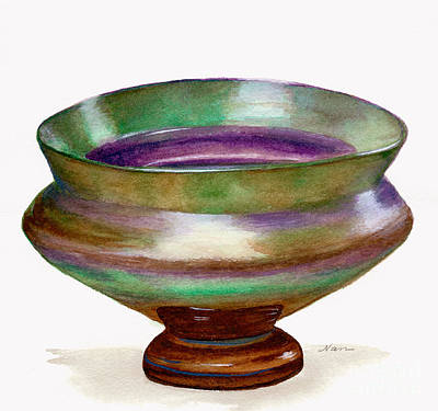 Painting - Iridescent Glass Bowl In Green And Purple by Nan Wright