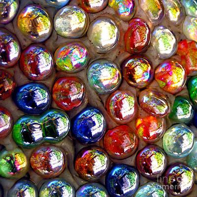 Photograph - Iridescent Glass Marbles Mosaic by Alexandra Jordankova