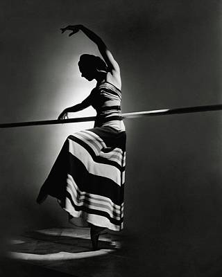 Irina Baronova Wearing A Stripes Art Print by Horst P. Horst