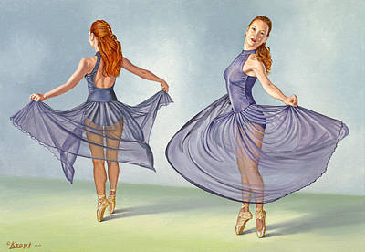 Irina Dancing In Sheer Skirt Original by Paul Krapf