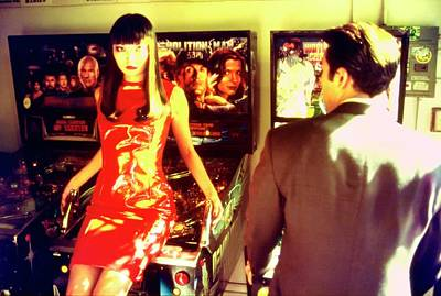 Pinball Photograph - Irina Pantaeva In A Red Vinyl Dress By Jeanette by Arthur Elgort