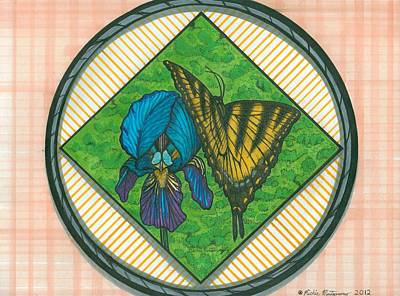 Iris And Butterfly Art Print