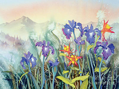 Art Print featuring the painting Iris And Columbine II by Teresa Ascone