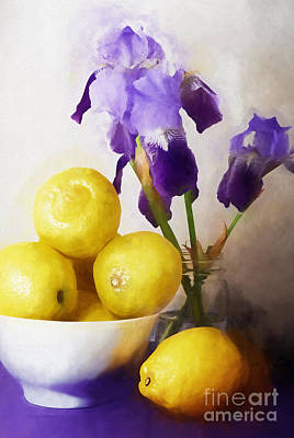 Irises Digital Art - Iris And Lemons by HD Connelly