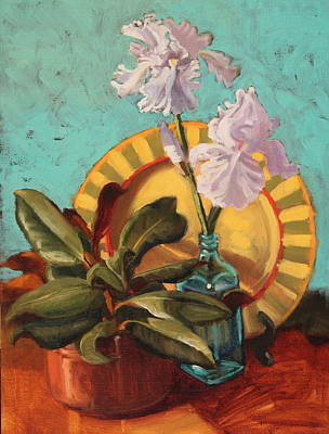 Solo Exhibition Painting - Iris And Magnolia by Brenda Sumpter