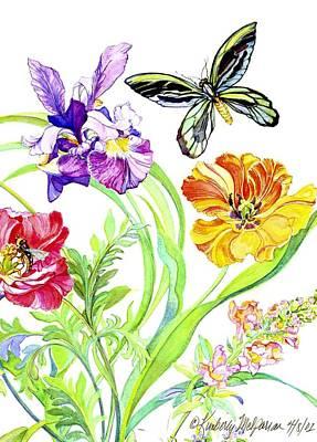 Iris And Queen Alexandra Butterfly Art Print by Kimberly McSparran