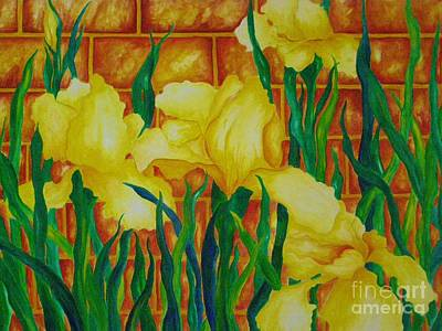 Painting - Iris And The Brick Wall by Diane Miller