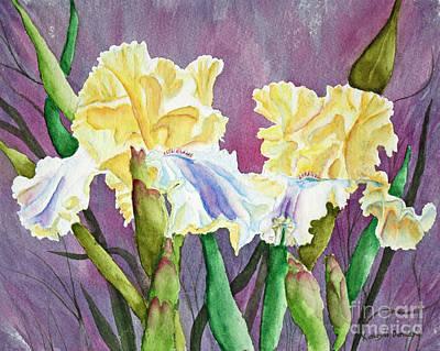 Iris Cream Duo Art Print by Kathryn Duncan