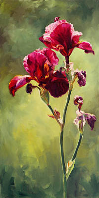 Of Irises Painting - Iris Deux by Laurie Hein
