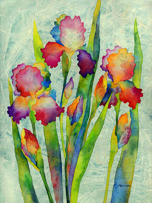 Iris Elegance On Green Art Print