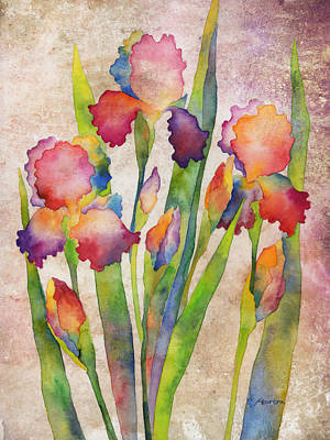 Painting - Iris Elegance On Pink by Hailey E Herrera