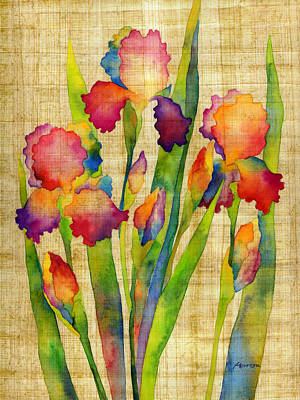 Painting - Iris Elegance On Yellow by Hailey E Herrera
