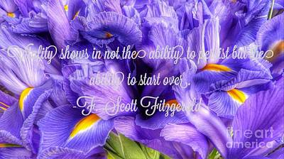 Photograph - Iris Flower Quote by Susan Garren