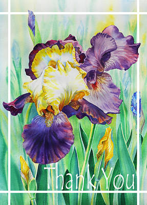 Painting - Iris Flower Thank You by Irina Sztukowski