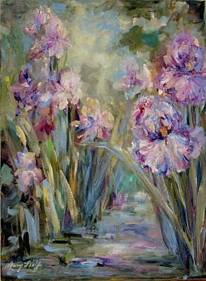 Iris Garden Art Print by Mary Wolf