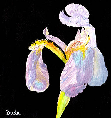 Floral Guest Room Painting - Iris Glow by Susan Duda