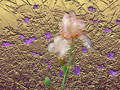 Mixed Media Royalty Free Images - Iris In Gold Leaf  Royalty-Free Image by Steve Karol