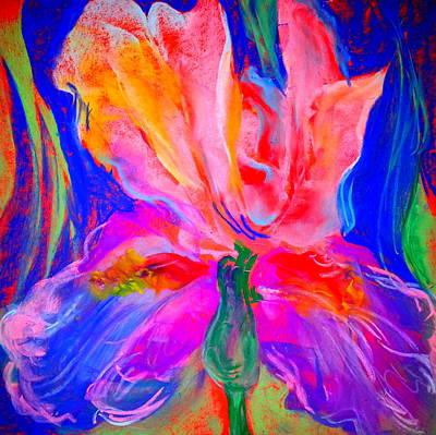 Funky Iris Flower Art Print