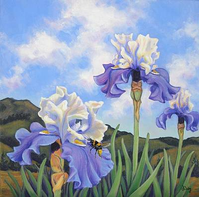 Cloudy Day Painting - Irises And Bumblebee by James Derieg