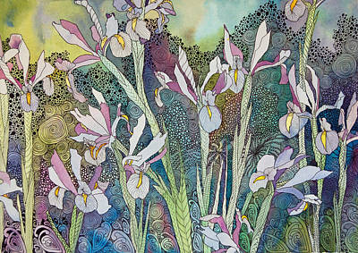 Irises And Doodles Art Print