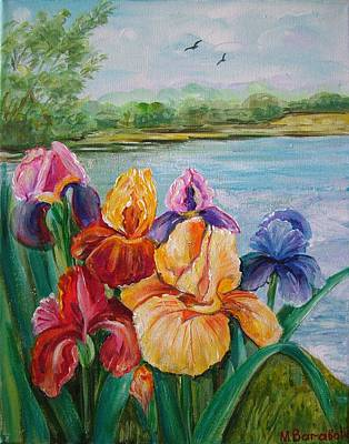 Realistic Painting - Irises By The Lake 2 by Mariia Barabolia