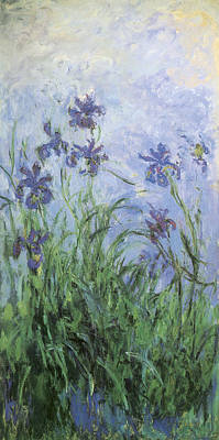 Purple Painting - Irises by Claude Monet