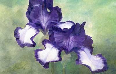Irises Duet In Purple Flowers Colorful Original Painting Garden Iris Flowers Floral K. Joann Russell Art Print