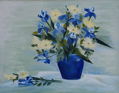 Table Cloth Painting - Iris In Blue Vase by Barbara Moak