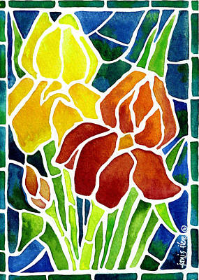 Irises In Stained Glass Original by Janis Grau