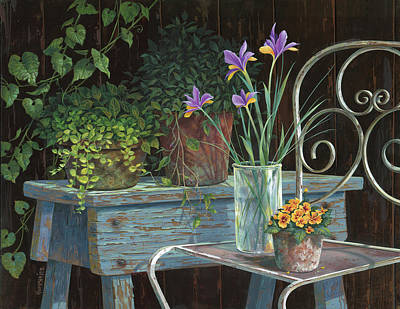 Wood Painting - Irises by Michael Humphries