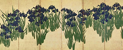 18th Century Painting - Irises by Ogata Korin