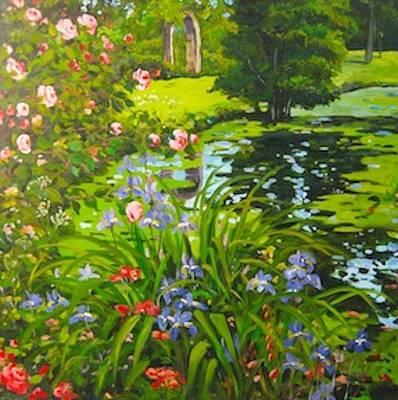 Painting - Irises On The Pond by Ingrid Dohm