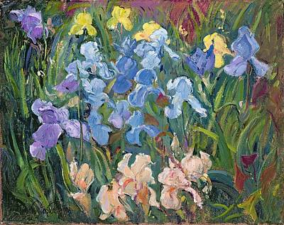 Pink And Yellow Painting - Irises Pink, Blue And Gold by Timothy Easton