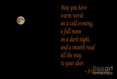 Wishing Well Digital Art - Irish Blessing 4 And Full Moon by Barbara Griffin