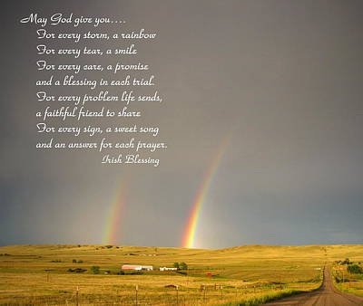 Photograph - Irish Blessing Double Rainbow 07 11 14 by Joyce Dickens
