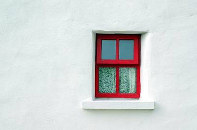 Red School House Photograph - Irish Cottage Red Window by Patrick Dinneen