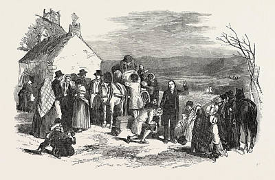 Blessings Drawing - Irish Emigrants Leaving Home, The Priests Blessing by Irish School